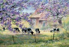 Over the country Canvas Art - Reint Withaar x Watercolor Landscape, Landscape Paintings, Watercolor Art, Country Canvas Art, Modern Painting, Pintura Exterior, Arte Country, Cottage Art, Spring Painting