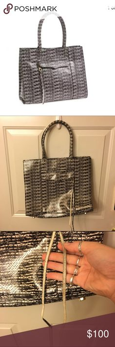 FINAL PRICE Rebecca minkoff MAB Tote Gorgeous white and black snakeskin leather MAB tote by Rebecca minkoff. Great condition only wear is shown on zipper pull tassel. Spacious and stylish, comes with dustbag! Smoke free Rebecca Minkoff Bags Totes