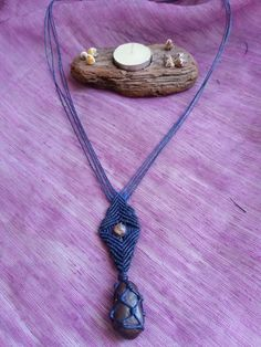 AiOn micro macrame necklaceblue wax by HeCateAccessories on Etsy