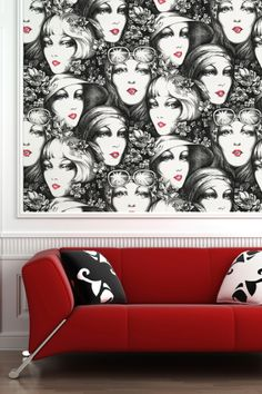 Vintage Faces Removable Wall Decal - Multicolor on HauteLook