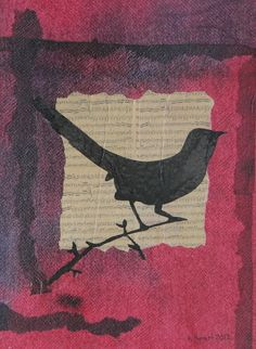 Bird and Music Mixed Media Art Collage Mixed Media  - Bird and Music Mixed Media Art Collage Fine Art Print