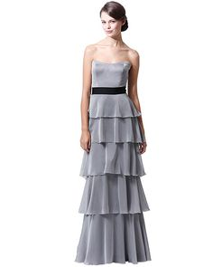 Badgley Mischka BM15-9 Strapless Layered Long Bridesmaids Dress, now available at the official website. Free shipping, exchanges, and returns.