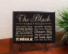 """Timber Creek Design Decorative Carved Wood Sign Personalized with Last Name FAMILY RULES, Help Each Other, WORK HARD, Always Tell The Truth, BE GRATEFUL, listen to your parents, SMILE, BE HAPPY - BE KIND, try new things, Dream Big, say your prayers, DO YOUR BEST, Love One Another 3D Carved 12""""x9"""" Black - Indoor TimberCreekDesign http://www.amazon.com/dp/B009GSKR6Y/ref=cm_sw_r_pi_dp_quSaxb0275RS2"""