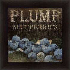 Plump Blueberries By Jennifer Pugh Kitchen D Cor Fruit Vintage Sign 14 5x14 5 In Framed