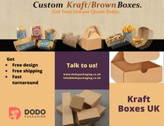 Kraft boxes are made of special material. You can get your kraft boxes in wholesale in custom design, get free design support to add your logo, with images & text on it. Get your kraft packaging boxes designed and manufactured in top-quality material. Kraft Packaging, Packaging Boxes, Box Design, Free Design, Custom Design, Kraft Boxes, Packaging Solutions, Logo, Prints