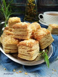 AranyTepsi: Sajtos-tepertős kocka Homemade Cakes, Winter Food, Scones, Camembert Cheese, Donuts, French Toast, Bakery, Dessert Recipes, Food And Drink
