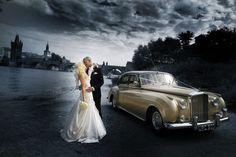 photo de mariage HDR noir et blanc avec touches de couleur