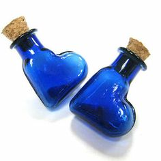 Tiny Colored Heart Glass Vials Bottle Clear Charms Blue 25x20mm 5pcs 6 10 62 | eBay