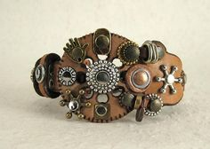 321 Steampunk Burning Man Boho Bracelet Recycled Jewelry