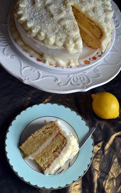 My take on the Lemon Velvet Cake I pinned here a while ago. Lemon Velvet Cake, Fathers Day Cake, Ombre Cake, Cake Baking, Baking Tips, Frostings, Apple Pie, Bakery, Sweets