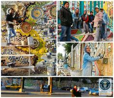 Six Syrian artists have set a 2014 Guinness World Record. Using scraps from the streets of war-ravaged Damascus, in January they built the largest mural made from recycled material, beautifying the area outside a primary school in Syria's capital. Broken Mirror, Guinness World, Guinness Book, World Records, Urban Art, Worlds Largest, Modern Art, Cool Art, Graffiti