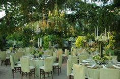 Garden party! #green #greenwedding #chandelier #whimsicalwedding