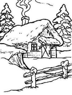 scenic coloring pages log cabin in woods coloring page