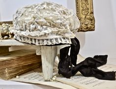 19th Century Lace Cap/Bonnet- Faded French Romance, French Shabby, French Brocante Finds,French Antiques by MademoiselleTresors on Etsy