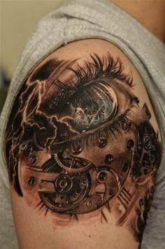 Augen Maschinen Donner Steampunk Tattoo
