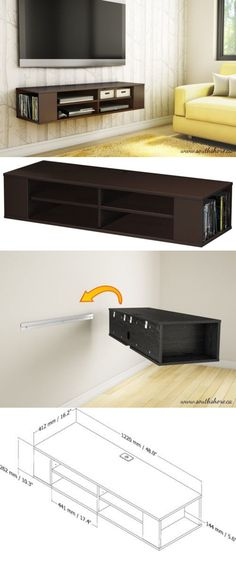 Wall Mount Media Center Shelf Floating Entertai... - Exclusively on #priceabate #priceabateFurniture! BUY IT NOW ONLY $129.39