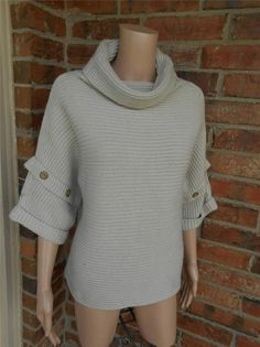 ANN TAYLOR Cowl Neck Sweater Size S Wool Blend 3/4 Sleeve Top Ribbed Boxy Beige #Talbots #Cardigan