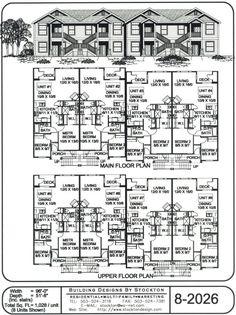 5 plex 15 39 wide unit and have 1 car garage apartment for 5 unit apartment building plans