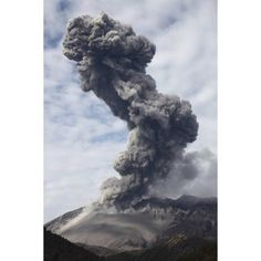 Explosive eruption of Sakurajima volcano Japan Canvas Art - Richard RoscoeStocktrek Images (12 x 18)