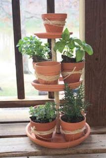 DIY Vintage Chic: How to Make a Tiered Terracotta Tower & How to Make an Herb Tower #gardening #howto www.runninginaskirt.com ...