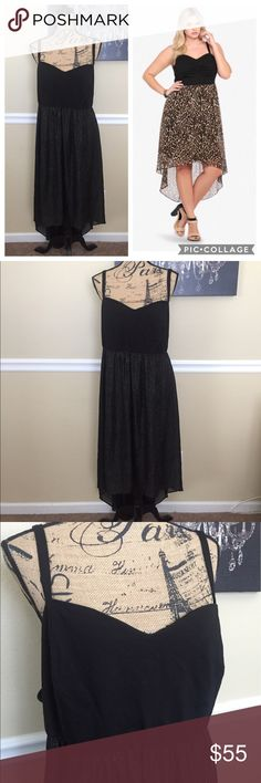 Torrid Glitter Dress This is a gorgeous black & gold glitter spec dress from Torrid, size 26. It is a Hi-low style, sweetheart neckline, exposed zipper on back. Not see thru, in excellent condition. ❗️Model is wearing similar style, not exact  same dress❗️ torrid Dresses