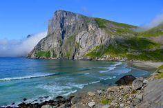 Kvalvika Beach: a hidden beach, surrounded by mountains. Lofoten Islands, Norway.