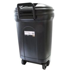 Outdoor Trash Can With Wheels Rubbermaid 312Liter Stepon Wastebasket  *waste Containment