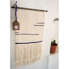 Image of Cream & Indigo Woven Wall Hanging