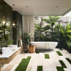 31 The Best Tropical Bathroom Decor Ideas Make Your Sleep Comfortable - Redecorating your bathroom does not have to be expensive or difficult. Tropical bathroom decor is not only easy to do, but it will give a lift to a ti. Tropical Bathroom Decor, Bohemian Bathroom, Indoor Outdoor Bathroom, Outdoor Baths, Outdoor Tub, Bathroom Goals, Bathroom Trends, Bathroom Ideas, Bathroom Inspo