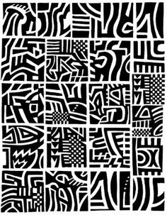 Abstract lines carved stamp.