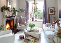 LOVE!!! purple, fireplace, furniture (gifts!!)