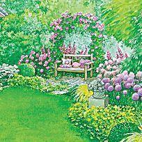 Das fröhliche Bauerngarten-Beet mit den üppigen Stockrosen erinnert an Großmutters Zeiten. Mit Pflanzplanz zum Herunterladen und Ausdrucken.
