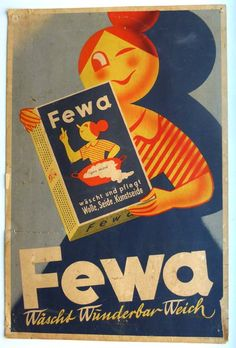 'Fewa' German Vintage Washing Powder Poster Ad 1950's