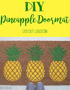 This DIY Pineapple Doormat is such a fun summer porch decoration!