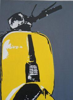 ORIGINAL ACRYLIC ART PAINTING VESPA SCOOTER - SCOOTERISTS MOD RETRO POP ART