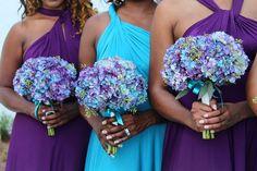 Beach Wedding Centerpieces, Beach Wedding Reception, Beach Wedding Flowers, Wedding Colors, Wedding Themes, Wedding Decorations, Wedding Bridesmaid Bouquets, Purple Bridesmaid Dresses, Wedding Dress