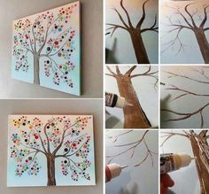 DIY Buttons Tree: 30 Fantastic Wall Tree Decorating Ideas That Will Inspire You