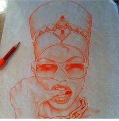 Dope Queen Nefertiti I love this sketch!!!