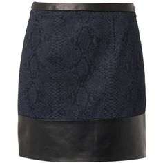 CHRISTOPHER KANE Leather and snake-print denim skirt (505 CAD) ❤ liked on Polyvore featuring skirts, mini skirts, navy, navy blue skirt, christopher kane, denim mini skirt, navy blue mini skirt and short mini skirts