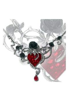 Bed Of Blood-Roses Necklace - Black roses, silver thorns and blood red enameled heart. Swarovski crystals sparkle from beneath the blood red enamel.