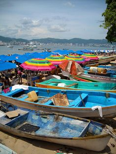 Cat Beach Acapulco , Mexico or thats what I called it bcuz the fisherman come in with their catch which attracts every stray cat around. Monuments, Places To See, Places To Travel, Places Around The World, Around The Worlds, Parasols, Umbrellas, South Of The Border, Destinations
