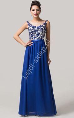 Chabrowa sukienka wieczorowa z gipiurą| długie sukienki wieczorowe