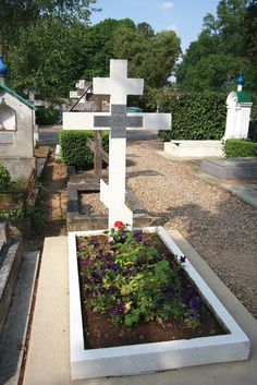 The grave of Princess Zinaida Nikolaevna Youssoupov, her son Felix,his wife Irina,their daughter Irina and her husband Count Nicholas Sheremetev in the Russian cemetery at St Genevive de Bois,Paris