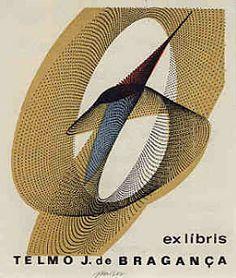 Ex libris of Dom Telmo José de Bragança (1925-1985) by Jaroslav Kaiser (Czech Rep.) - Lythography, 4 colours. 1976