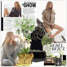 """""""Doutzen Kroes: Black and Gold"""" by yamyiy on Polyvore"""