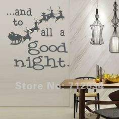 Free Shipping WALL'S MATTER Christmas Decor All a Good Night Wall Stickers Wall Quote Decals(60.0 x 60.0cm/piece)(China (Mainland))