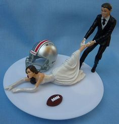 Wedding Cake Topper Ohio State University Buckeyes OSU G Football Themed w/ Gart...
