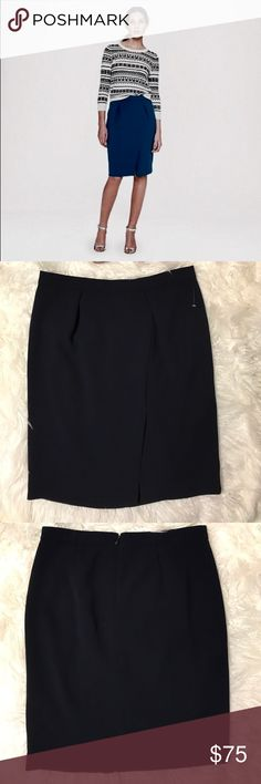 """J.Crew Navy Blue Drape Pencil Skirt A softer take on a classic silhouette in sleek pebbled crepe. Poly. Back zip. Lined. Dry clean. Laid flat across @ bust: 16"""", Length: 23"""". NWOT J. Crew Skirts Midi"""