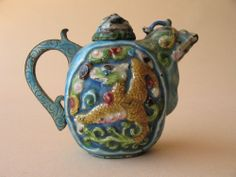 old Collection Chinese ENAMEL Water DROPPER teapot figural metal Cloisonne type