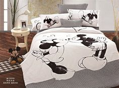 *** Black&White Mickey and Minnie Kiss Queen Bed Quilt Cover Set ***
